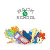 Torna a scuola di design. Illustrazione vettoriale - articoli per la scuola — Vettoriale Stock