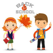 Back to school design. a schoolgirl and a schoolboy with a book — Stock Vector