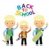 Back to school design. Vector illustration three children with s — Stock Vector