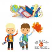 Back to school design. Vector illustration two schoolboys with s — Stock Vector