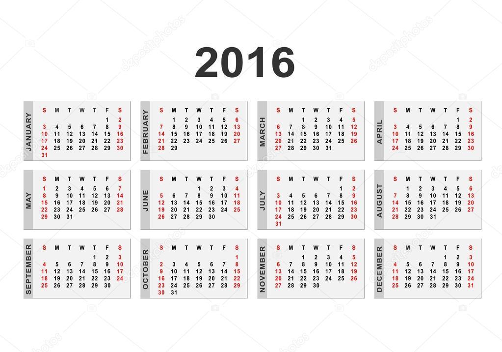 Calendar for 2016 year background — Stock Vector © forden #80704014
