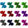 Percent Symbol in various colors — Stock Photo #59942939