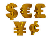 Currency symbols in gold — Stock Photo