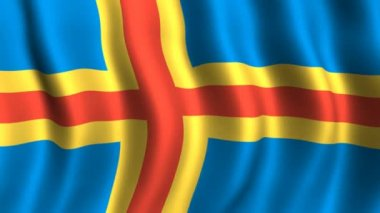 Flag of Aland Islands — Stock Video