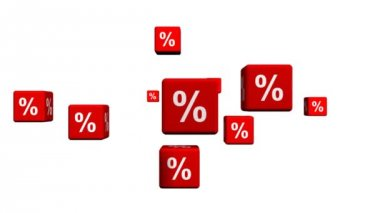 Red Cubes with Percent symbols — Stock Video