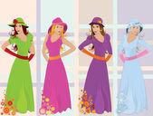 4 seasons girls — Stock Vector