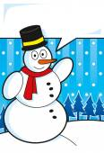 Snowman with speech bubble — Stock Vector