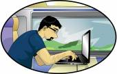 Computer scientist on a train — Stock Vector
