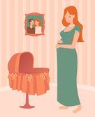 Pregnant woman — Stock Vector
