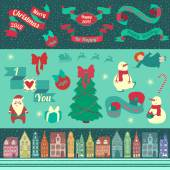Christmas elements with tree, snow, toys, Amsterdam houses and ribbons — Stock Vector