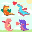Set of four cute dragons — Stock Photo #64344117