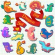 Big set of four cute dragons — Stock Photo #64344119