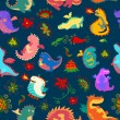 Seamless pattern with flowers and cute dragons — Stock Photo #64344141
