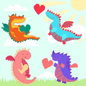 Set of four cute dragons — Stock Photo
