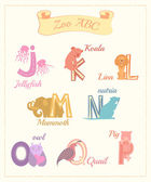 Set of cartoon alphabet characters with animals v.2 — Stock Photo