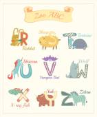 Set of cartoon alphabet characters with animals v.3 — Stock Photo