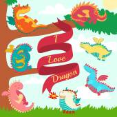 Set of small cute dragons collection — Foto de Stock