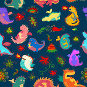 Seamless pattern with flowers and cute dragons — Stock Photo