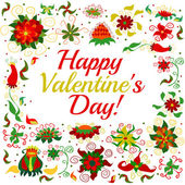 Happy Valentine's floral congratulation frame — Stock Photo