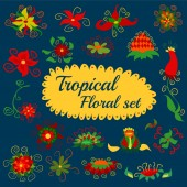 Tropical Flower Set with Label and Nature — Stock Photo