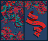 Colorful pattern ornaments and text ribbon — Стоковое фото