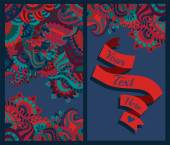 Colorful pattern ornaments and text ribbon — Foto Stock