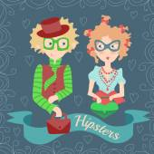 Girl and boy hipster characters — Stock Photo