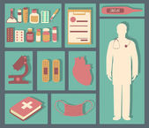 Medical icons set: doctor, microscope, plaster, medical book, heart, thermometer, cross, pills and other. Healthcare infographic elements. Vector illustration made in flat design. — Fotografia Stock