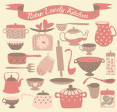Vintage kitchen set in vector. Stylish design elements: pepper-box, fork, spoon, bowl, pan, scales, colander and others — Stockfoto