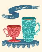 """Cute doodle hand drawn icon with two cups and words """"tea for two"""" — Stock Photo"""