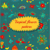 Floral Tropical Pattern — Stock Vector