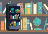Online mobile library — Stock Vector