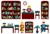 Big set library Flat style — Stock Vector