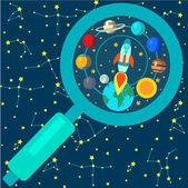 Papíru raketa Planet — Stock vektor