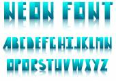 Neon alphabet in reflection — Stock Vector