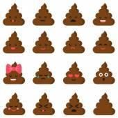 Cut poop emoticon smileys — Stock Vector