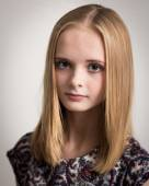 Beautiful Young Blond Teenage Girl in Flower Top — Stock Photo