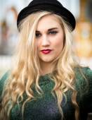 Beautiful Blond Teenage Girl in a Bowler Hat — Stock Photo