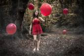 Teenage Girl Holding Red Balloon In Misty Forest With Floating B — Stock Photo