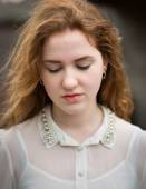 Beautiful Ginger Teenage Girl Looking Down — Stock Photo