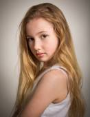 Beautiful young shy blond girl — Stock Photo
