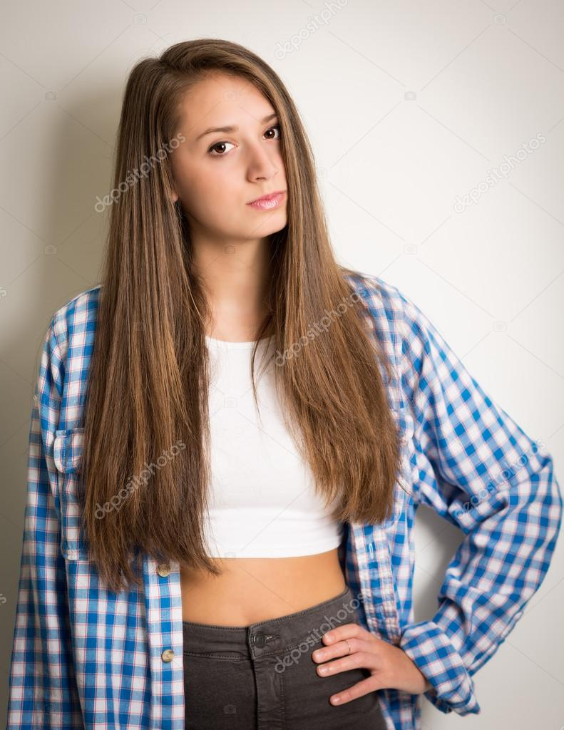 Beautiful teen girl in a white top and blue shirt stock photo heijo 61323851 - Image of teen ...