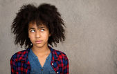 Young Teenage Girl With Afro Hair Thinking — Stock Photo