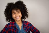 Mixed Race Girl With Whacky Afro Hair — Stock Photo