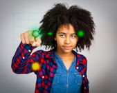 Teenage Girl With Whacky Afro Hair Playing A Virtual Game — Stock Photo