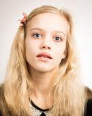 Beautiful Blond Teenage Girl Looking In The Camera — Stock Photo