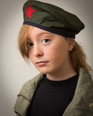 Teenage Ginger Girl In Revolution Barret Hat — Stok fotoğraf