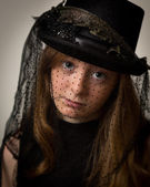 Ginger Teenage Girl In Victorian Riding Hat — Stock Photo