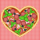 HEART PIZZA WITH BASIL — Stock Vector