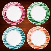 PLATES STRIPED LINES COLOR 4 — Stock Vector